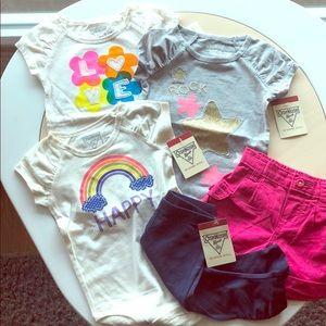 Osh Kosh 3 star, love,onesie, shorts, leggings set